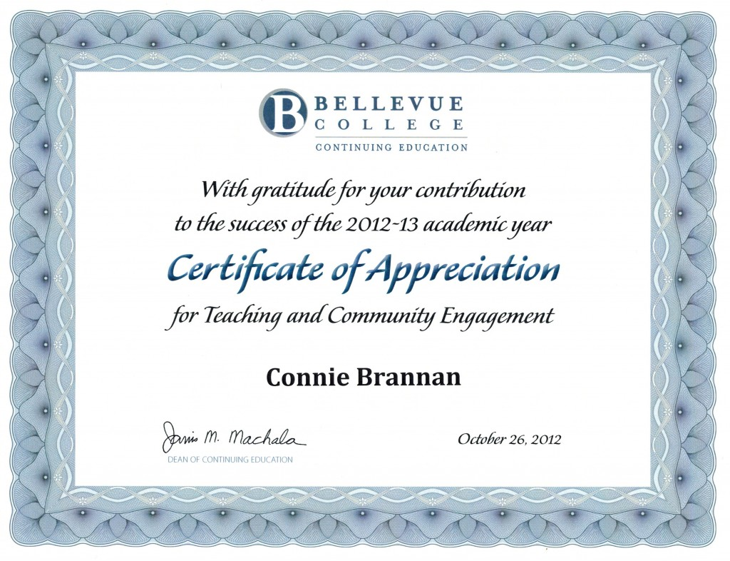 "Bellevue College says ""thank you"" for hypnosis courses."